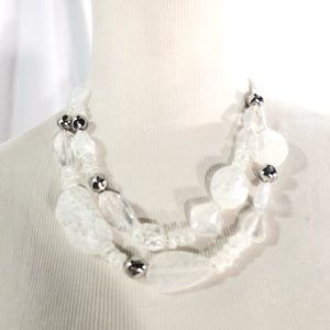 NWT Chico's White and Silver Bead Necklace